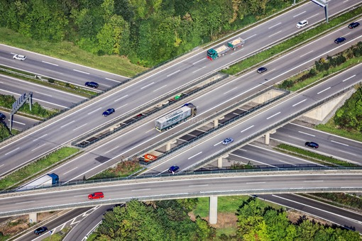 Aerial view from the interchange near Ulm-Elchingen, intersection of the A7 and A8 motorways - Klaus Leidorf Aerial Photography