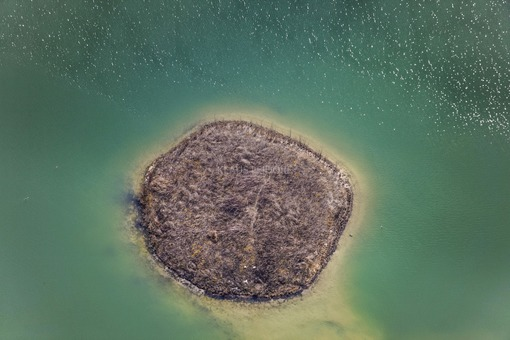 Aerial view of an island in the quarry lake - Klaus Leidorf Aerial Photography