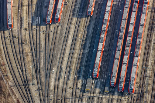 Aerial view of the S-Bahn depot at the Munich-Steinhausen depot - Klaus Leidorf Aerial Photography