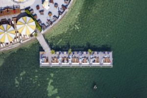 Aerial view of the Undosa lake restaurant in Lake Starnberg - Klaus Leidorf Aerial Photography