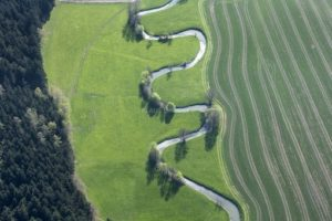 Aerial view of the meanders of the little Vils near Diemannskirchen - Klaus Leidorf Aerial Photography