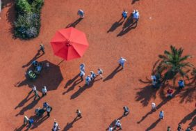 Aerial view of visitors to the Federal Garden Show 2005 in the trade fair city of Riem - Klaus Leidorf Aerial Photography