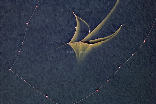 Aerial view of a fishing net in the Ammersee - Klaus Leidorf Aerial Photography