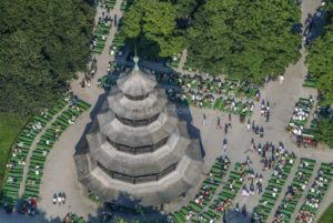 Aerial view of the beer garden and Chinese Tower in the English Garden in Munich - Klaus Leidorf Aerial Photography
