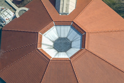 Aerial view from the roof of the Novamare water park in Neuendettelsau - Klaus Leidorf Aerial Photography