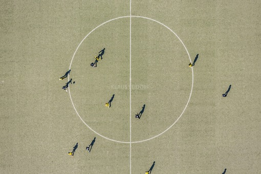Aerial view of the soccer field at the Sportzentrum West in Landshut - Klaus Leidorf Aerial Photography