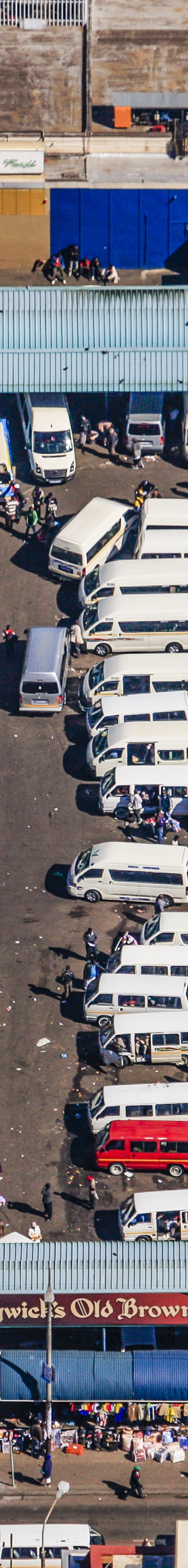Aerial view from the bus station at the park station in Johannesburg city center in South Africa - Klaus Leidorf Aerial Photography