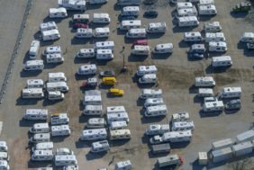 Aerial view of the caravan park at the Riem exhibition Center - Klaus Leidorf Aerial Photography