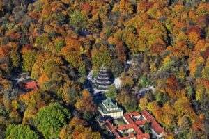 Aerial view of the autumn colored English garden in Munich - Klaus Leidorf Aerial Photography