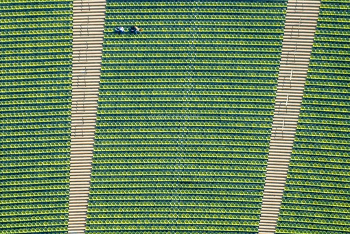 Aerial view of spectators in the Olympic Stadium in Munich - Klaus Leidorf Aerial Photography