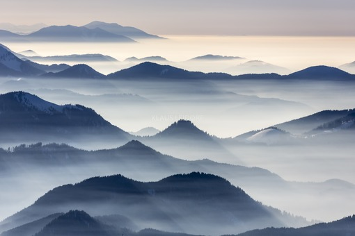 Aerial view of the hills on the edge of the Alps in the haze - Klaus Leidorf Aerial Photography