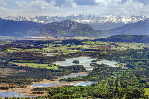 Aerial view of the Easter lakes in front of the Alpine panorama - Klaus Leidorf Aerial Photography