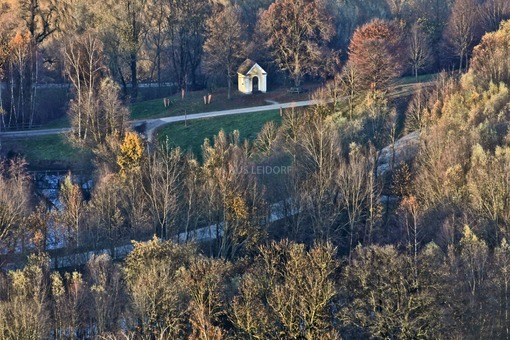Aerial view of the chapel at the brick factory in Vatersdorf - Klaus Leidorf Aerial Photography