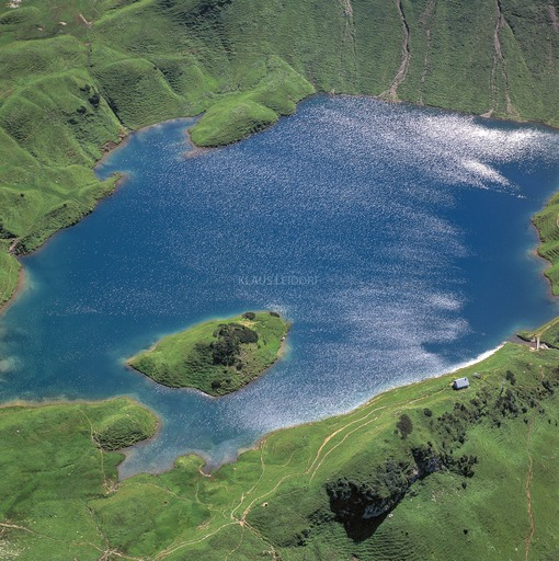 Aerial view of a mountain lake in the Allgäu Alps 10km southeast of Hindelang - Klaus Leidorf Aerial Photography
