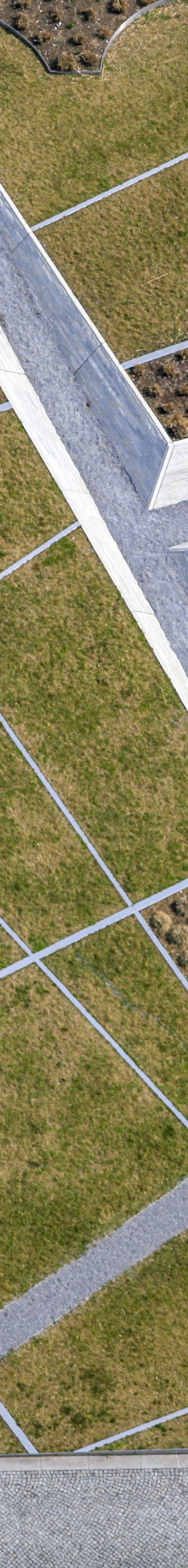 Aerial view of a sunken garden that was created for the BuGa 2005 in the park of the Messestadt Riem - Klaus Leidorf Aerial Photography