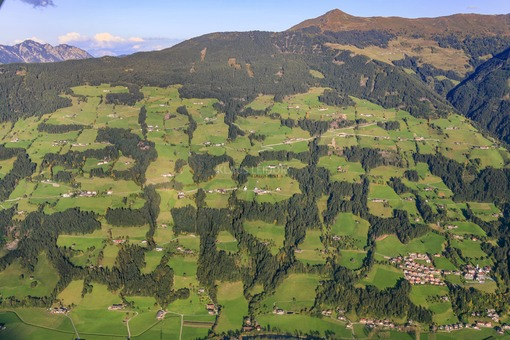 Aerial view of the original landscape at Holdernach in the Zillertal in Austria - Klaus Leidorf Aerial Photography