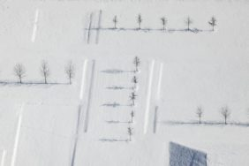 Aerial view of wintry landscape architecture on Dieselstrasse in Unterföhring - Klaus Leidorf Aerial Photography