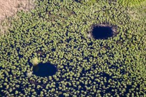 Aerial view of two holes in the Eglsee - Klaus Leidorf Aerial Photography