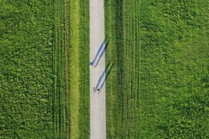 Aerial view of walkers and cyclists in the new park in Munich-Riem - Klaus Leidorf Aerial Photography