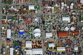 Aerial view of the Bavarian Central Agriculture Festival 2008 on the Theresienwiese in Munich parallel to the Oktoberfest - Klaus Leidorf Aerial Photography