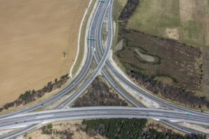Aerial view of the motorway junction Munich-South-West - Klaus Leidorf Aerial Photography