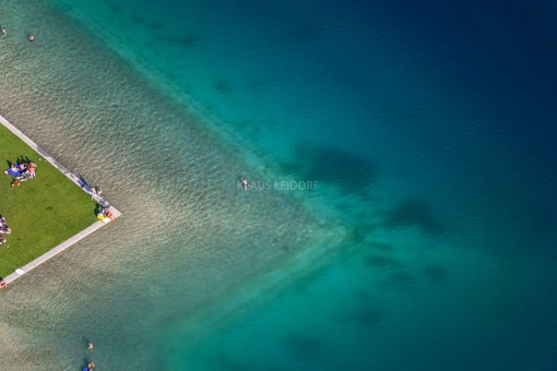 Aerial view of the bathing beach at Riemer See - Klaus Leidorf Aerial Photography