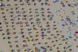 Aerial view of the bathing beach in Travemünde at the Baltic Sea - Klaus Leidorf Aerial Photography