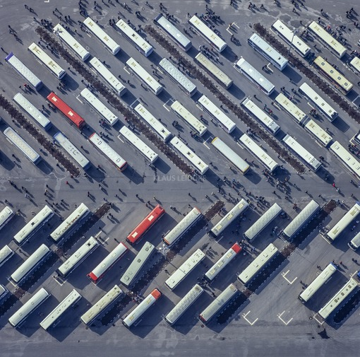 Aerial view of the bus station at the BMW plant in Dingolfing - Klaus Leidorf Aerial Photography