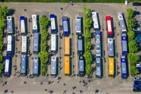 Aerial view of the bus station at the BMW plant in Regensburg-Harting - Klaus Leidorf Aerial Photography