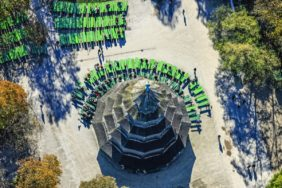 Aerial view of the Chinese Tower with beer garden in the English Garden in Munich - Klaus Leidorf Aerial Photography