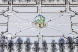 Aerial view of the Diana Temple in the Hofgarten in winter in Munich - Klaus Leidorf Aerial Photography