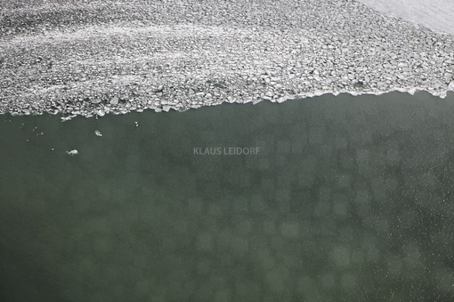 Aerial view of the ice on the reservoir - Klaus Leidorf Aerial Photography