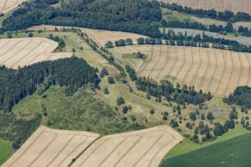 Aerial view of the Green Belt, the border between Bavaria and Saxony near Gumpersreuth in Hof district and Wiedersberg in Vogtland district - Klaus Leidorf Aerial Photography