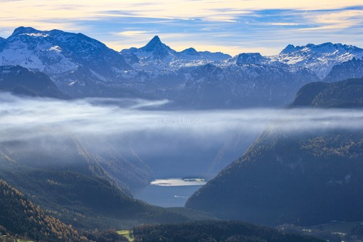 Aerial view of Königssee under clouds of fog - Klaus Leidorf Aerial Photography
