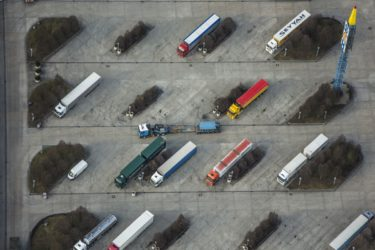 Aerial view of the truck parking lot at Autohof Wörth on the A92 - Klaus Leidorf Aerial Photography