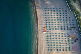 Aerial view of the sea beach at Mattinata in the Gargano on the Adriatic coast in Apulia - Klaus Leidorf Aerial Photography