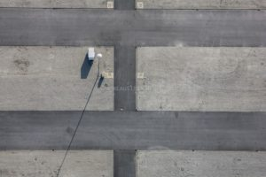 Aerial view of the fairground in Landshut with lonely trailer - Klaus Leidorf Aerial Photography