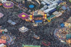 Aerial view of the Oktoberfest 2008 in Munich on the Theresienwiese, shortly before sunset - Klaus Leidorf Aerial Photography