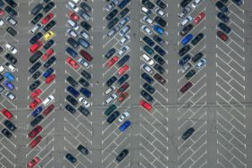 Aerial view of the car park at the Würzburg outdoor pool - Klaus Leidorf Aerial Photography