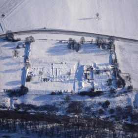 Aerial view of the Roman fort Abusina near Eining in winter - Klaus Leidorf Aerial Photography