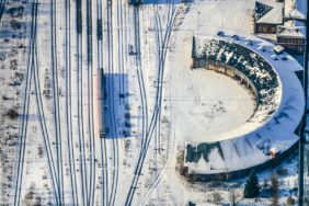 Aerial view of the roundhouse at the main station in Hof in winter - Klaus Leidorf Aerial Photography