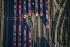 Aerial view of the S-Bahn depot in Munich-Berg am Laim - Klaus Leidorf Aerial Photography