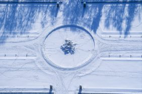 Aerial view of the fountain in hibernation in the castle park of Munich-Nymphenburg - Klaus Leidorf Aerial Photography