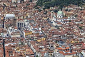 Aerial view of the city centre of Brescia in Lombardy, Italy - Klaus Leidorf Aerial Photography