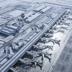 Aerial view of Terminal 1 at Munich Airport in winter - Klaus Leidorf Aerial Photography