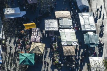 Aerial view of the weekly market in Ingolstadt - Klaus Leidorf Aerial Photography
