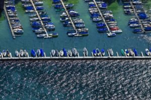 Aerial view of the marina Bernried in Starnberger See - Klaus Leidorf Aerial Photography