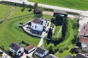 Aerial view of the medieval castle stable with the former castle chapel St. Ägidius in Türkenfeld - Klaus Leidorf Aerial Photography