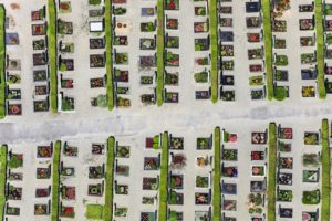Aerial photograph of a very graphical cemetery in Altdorf near Landshut - Klaus Leidorf Aerial Photography