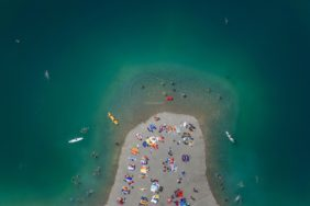 Aerial view of bathers at the quarry pond in Gilching - Klaus Leidorf Aerial Photography